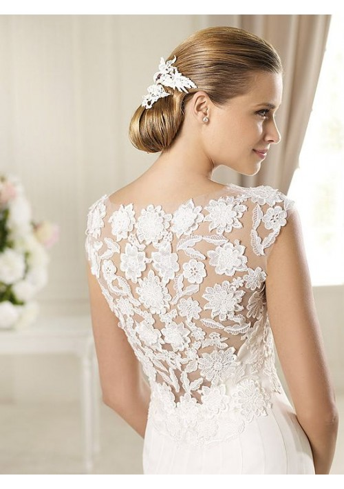 Simple lace back wedding dresses