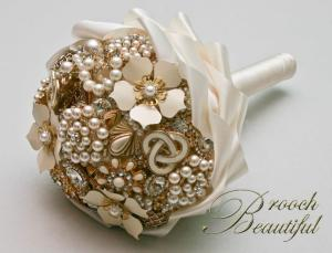 White and gold jeweled brooch bouquet by