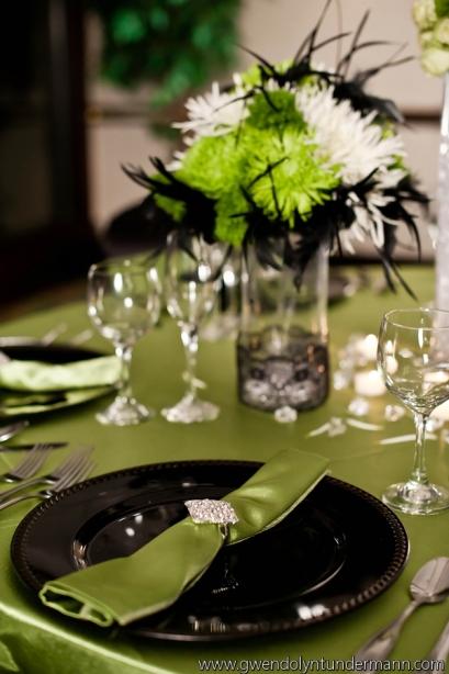Green and Black wedding decor
