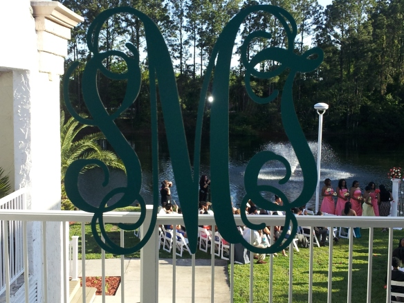Personal monogram window decal overlooking fountain at the FountainView Room in Jacksonville, FL
