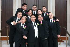 Groom with his father and groomsmen