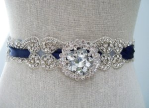 satin-blue-wedding-sash-with-a-brooch